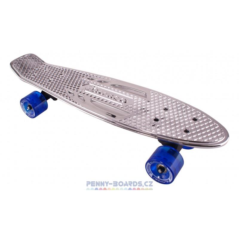 "Pennyboard KARNAGE CHROME Retro Silver/Blue penny board 22,5""|57cm Cruiser"