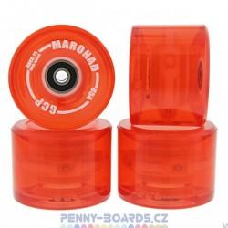 Kolečka svítící pro longboard MARONAD|69x50mm|ABEC-11|4ks|LED RED