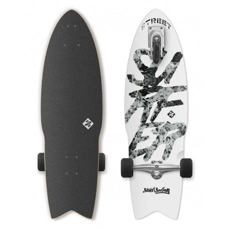 "Longboard STREET SURFING 3-Kolový Shark Attack 30"" 76cm  GREAT WHITE"