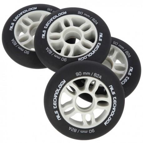 Kolečka pro kolečkové brusle NILS EXTREME | 90x24mm | PU 82A | 4ks | BLACK