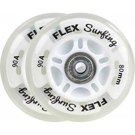 Kolečka svítící pro waveboard FLEXSURFING Light Up | ABEC-7 | 2ks | TRANSPARENT