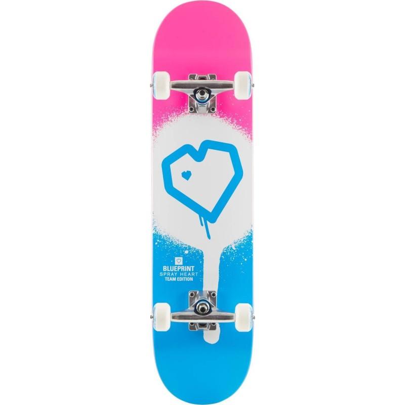 "Skateboard BLUEPRINT Spray Heart V2  7.75"" | PINK-BLUE"