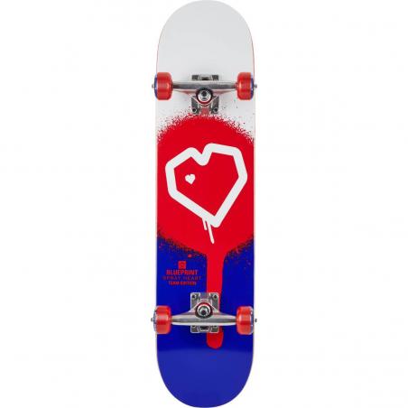 "Skateboard BLUEPRINT Spray Heart V2  8"" | RED-BLUE"