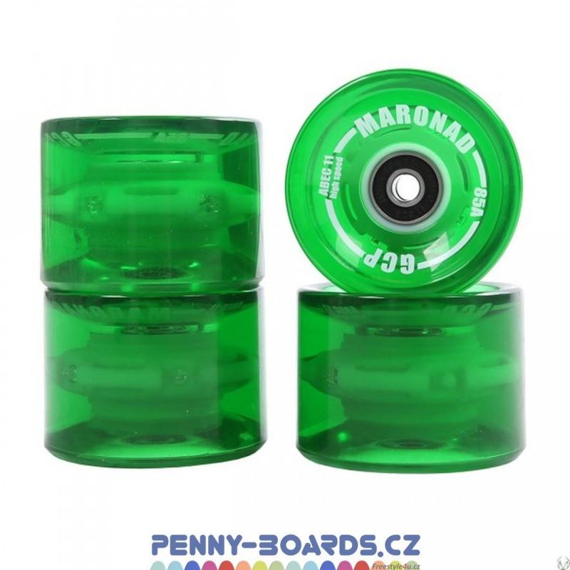 Kolečka LED MARONAD Svítící barevně, Zelené (Green) 69 x 51mm 85A (sada 4ks s ložisky ABEC-11)